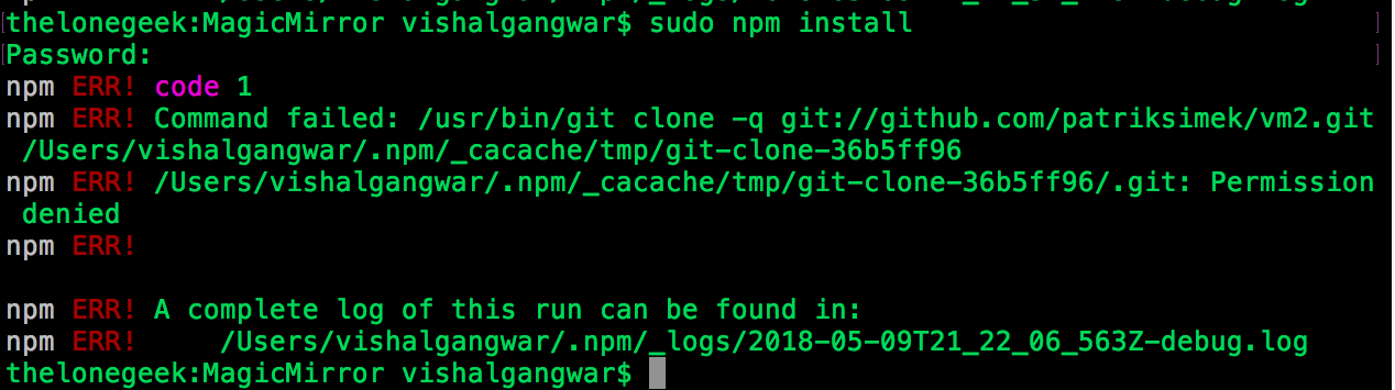 Cant run npm start or npm install on my macbook air please